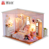 New Beautiful Pink DIY House Toy Miniature Model Girls′ Gifts