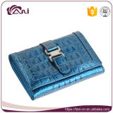 Fashion Luxury Woman Wallets in Blue Color, Crocodile Genuine Leather Purse High Quality