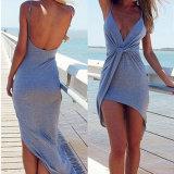 Fashion Women Knittin Sexy Slim Bandage V-Neck Blackless Slip Dress
