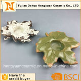 Christmas Ceramic Candle Holder with Maple Leaf Design