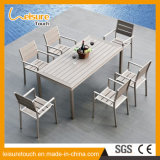 Swimming Pool Outdoor Furniture Aluminum Fabrication Dining Table Modern Design Plastic Wood Table Set