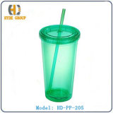 Plastic Double Wall Acrylic Straw Cup (HD-SB-PP-205)