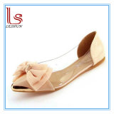 Fashion Woman Sweet Bowknot Soft Transparent Flat Leisure Shoes