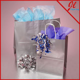 Metallic Ink Glossy White Shopping Bags Paper Shoppers
