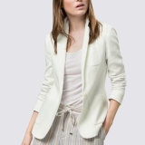 China Manufacture Cotton Woman Coat Pant White Casual Suit