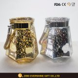 Prismatic Plated Corrosion Glass Candle Holder with Band