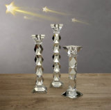 Tall Crystal Glass Candle Holder Craft for Decoration