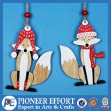 Wooden Cute Fox with Red Hat Design for Hanging Ornament