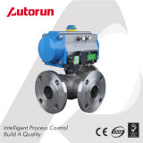 Stainless Steel Flange End Pneumatic 3 Way Ball Valve