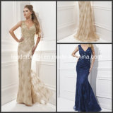 Lace Evening Dresses Beaded Blue Champagne Sequins Fall Winter Gray Silk Chiffon Pageant Prom Formal Dresses Gowns T21434