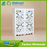 Customized White Wood Hollow Plastic Plate Carved Cabinet