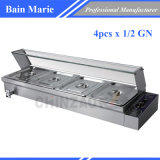 4 Pan Countertop Commercial Food Warmer Bain Maries - 1/2 Gn Pans