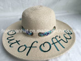 Paper Braid Beach Style Printed Scarf Embroiery Emb Eyelet Trim Floopy Straw Hat