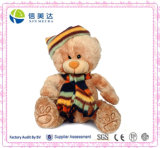 Nice Plush Teddy Bear with Hat and Scarf