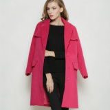 Latest Turn- Down Fashion Red Long Winter Women′s Coat