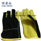 Yellow Color Safety Gloves, Cow Split Leather Work Glove, Leather Cotton Welding Gloves