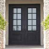Exterior Custom Wrought Iron French Entry Door with Window
