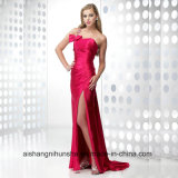 Women Beading Satin One-Shoulder Evening Party Prom Dress