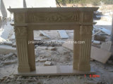 Sunny Beige Marble Fireplace/Marble Fireplace/Stone Fireplace