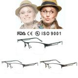 China Unisex Half Frame Optical Eyeglasses Frame with Hole Temple