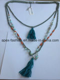 Multilayer Fabric Silver Plated Necklace Fashion Jewelry