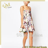 Fashion Beautiful Floral Printing Custom Evening Dress with V-Plunge Neck