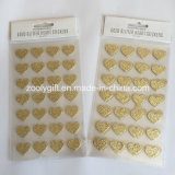 Gold Glitter Heart Stickers / Handmade Paper Craft Sticker