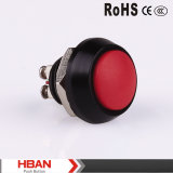 12mm Miniature Momentary Black Finish Domed Pushbutton