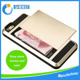 Hybrid PC+TPU for Apple iPhone Case, Card Slider with Card Storage Armor Case