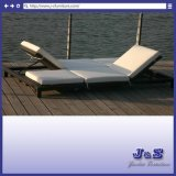2 Seating Outdoor Rattan Chaise Lounge Chair Set, Garden Patio Furniture (J4195)