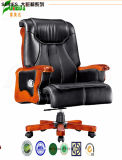 Swivel Leather Executive Office Chair with Solid Wood Foot (FY1312)