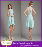 2014 New Mint Geen Chiffon Knee Length Sleeveless A-Line Cheap Short Bridesmaid Dresses