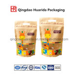 Flat Bottom Stand up Food Zipper Bag Kraft Paper / Plastic Materials Heat Sealable with Customer Design