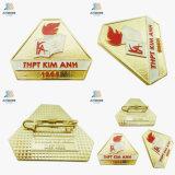 Free Shipping Die Cut Gold Enamel Square School Custom Brooch Pins