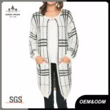 Plaid Womens Knit Long Cardigan Sweater Coat