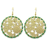Green Rope Wrap Gold Color Stamping Butterfly Flowers Leaf Earrings