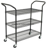 Commercial 3 Tier Layer Shelf Adjustable Wire Metal Shelving Rack Trolley Cart
