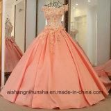 Wedding Dress Lace up Back Appliqued Short Sleeves Evening Dress