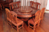 Round Burma Padauk Dinner Table with Qing Dynasty Sculpture