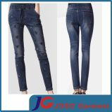 Front Embroidery Women Demin Girdle Jeans for Girl (JC1188)