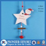 Wooden Ornament with Star and Santa Design