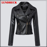 Fashion Black PU Jacket for Women Winter Outer Wear