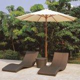 Welded Aluminium Frame Outdoor Sun Resist Rattan Chaise Lounge (TG-JW95)