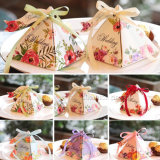 Luxury Floral Pattern Design Triangle Paper Packaging Gift Box with Ribbon