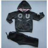 Boyl′s Fleece Zipper-up Jogging Set with Hood
