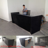 Customized Acrylic Solid Surface Reception Counter for Bank Black Reception Desk Design