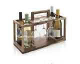 Furniture 4 Bottle Wooden Wine Shelf with Wine Glass Holder