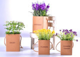 Artificial Flocking Plastic Wild Flowers in Hanging Paper Bag for All Public Decoration