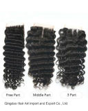 "8-24"" Natural Color Virgin Deep Wave Hair Top Closure"