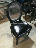 Clear Back Black Color Wooden Louis Chair for Party/Wedding